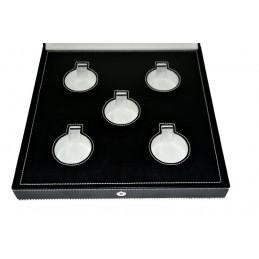 Stock di 10 astucci/espositori serie violet per anello/orecchini/pendente 50x50xh65 mm