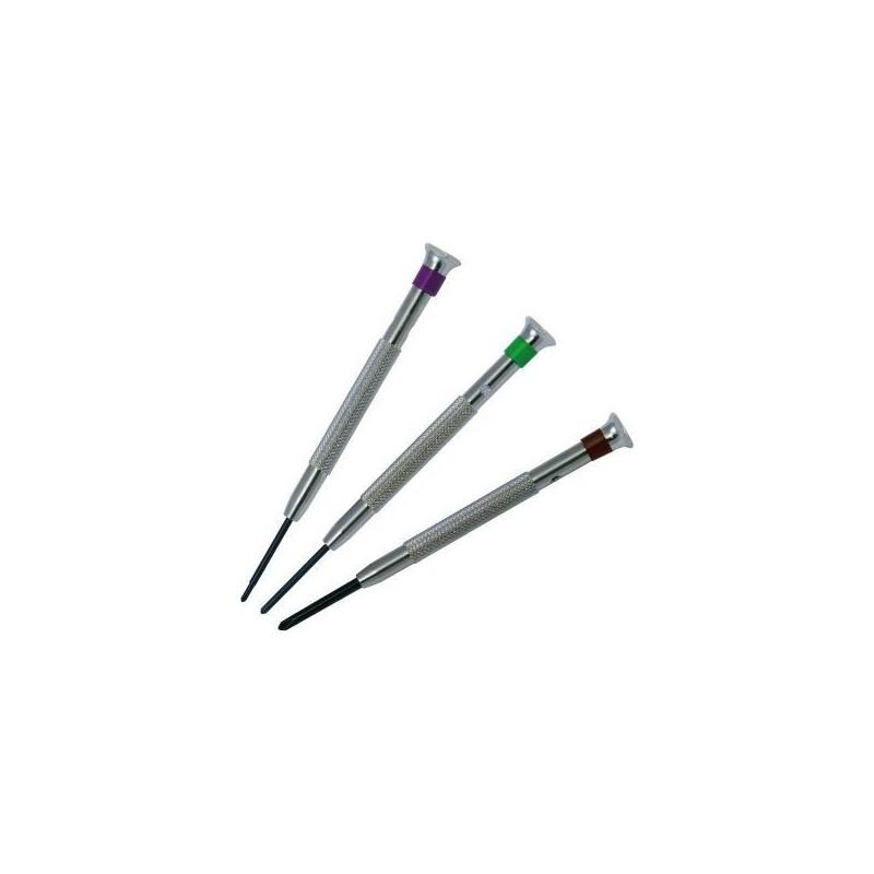 Set di 3 cacciaviti Beco con punte a croce (1,5 - 2 - 3 mm)