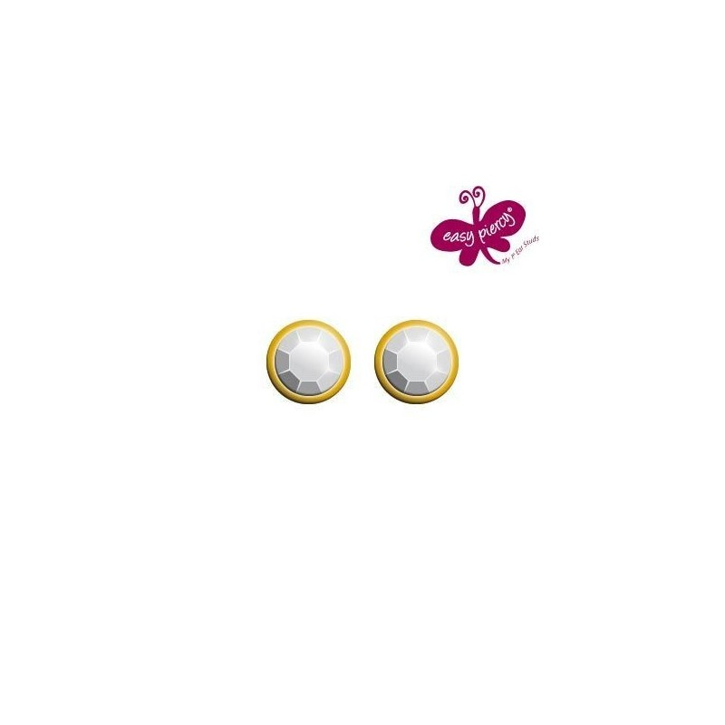 1 Pair EASY PIERCY COMFORT ear studs Ø 3,95 mm, gold plated, Diamond imitation