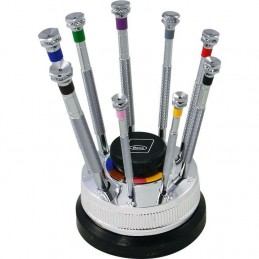 Set of 9 antimagnetic screwdrivers Ø 0,6 - 3,0 mm with colour code on revolving base with spare blades