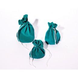 Stock di 10 sacchetti base tonda in velluto verde acqua mis. 3