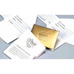 """Certificado de garantia """"Estrella""""  personalizada 5x8 cm - conf.100pcs"""