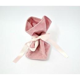 Stock di 10 sacchetti floccato rosa con nastro in raso