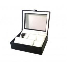Cassetta in legno rivestito con vetro per 6 orologi 290x225xh105mm