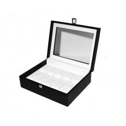 Cassetta in legno rivestito con vetro per 10 orologi 290x225xh105mm