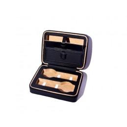 Custodia con 2 impronte per orologi + 2 tasche + chiusura zip 180x140xh60 mm