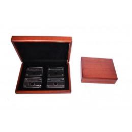 Cassetta in legno tinto noce con 4 blister grandi con rivetti 264x182 h5 mm