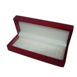 Red wood presentation box for 12 rings 260x100x60mm