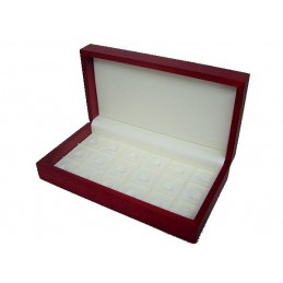 Red wood presentation box for 18 rings 260x140x60mm