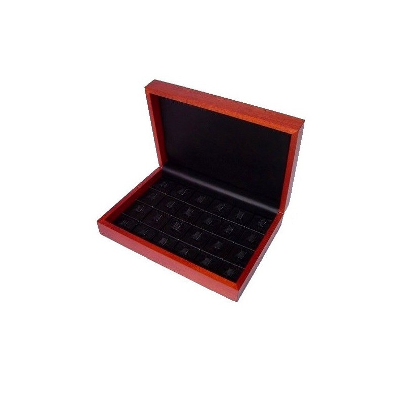 Red wood presentation box for 24 rings 260x180x60mm