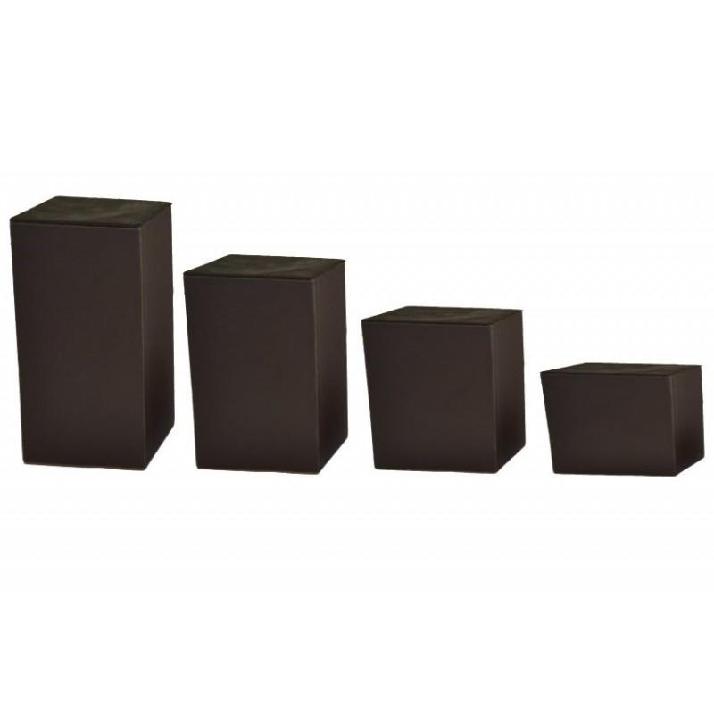 Serie di 4 basi quadrate h5-10-15-20 cm/base 10x10 cm