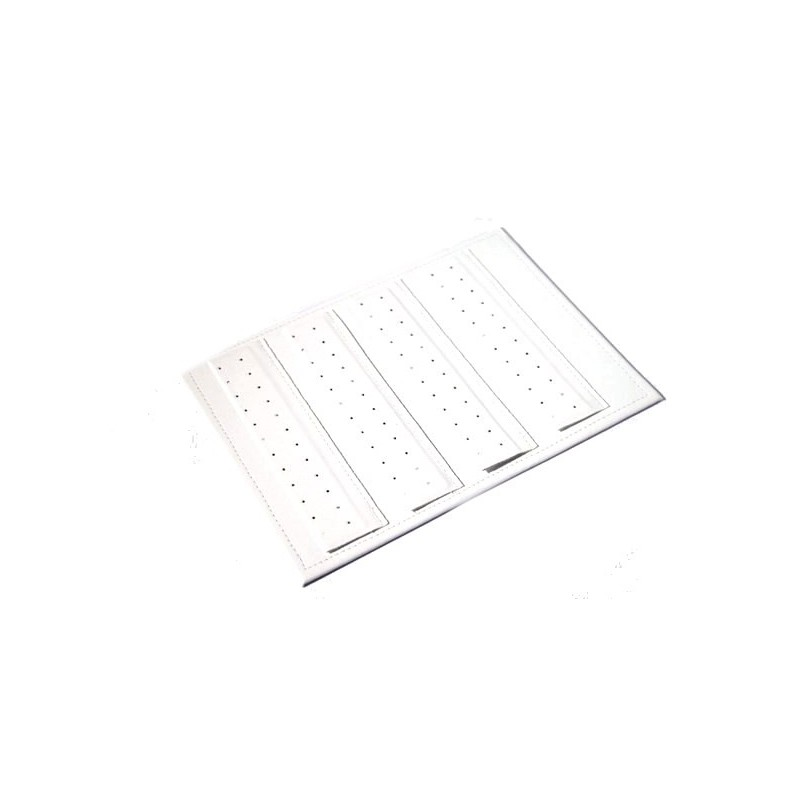 Rectangular display pad with 4 pierced bands for earr.