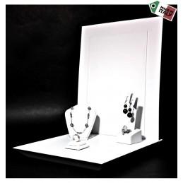 Vetrina per gioielli con base in legno laccato 246x246 h24 mm+ spalliera per logo 245x300 mm