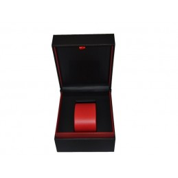 Stock of watch case in red and black leather