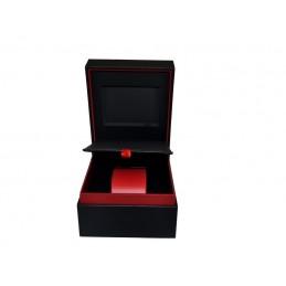 Stock de caja de reloj en cuero rojo y negro