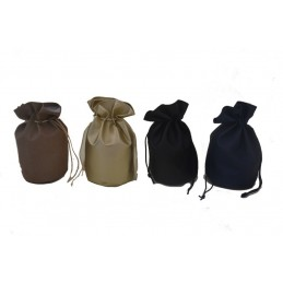 Round base drawstring pouches bells leatherette h 180