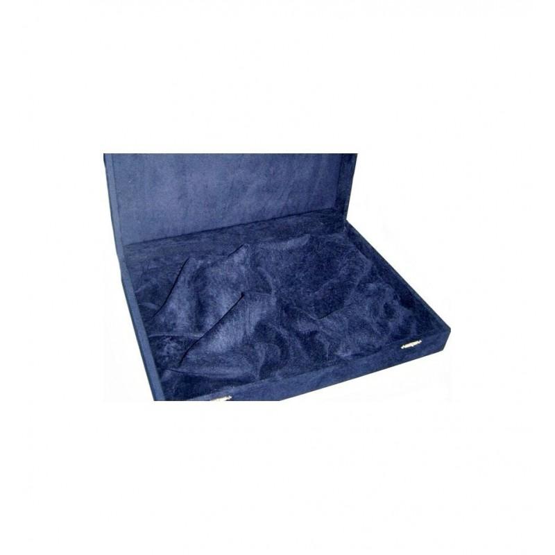 Art. Cassetta in floccato blu per argenteria 40x29 h 8 cm