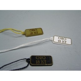 "Plastic tags with wording ""oro 18 KT"" - set of 100 pieces"