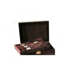 Cassetta in legno rivestita + vassoio estraibile e custodie per 77 posti