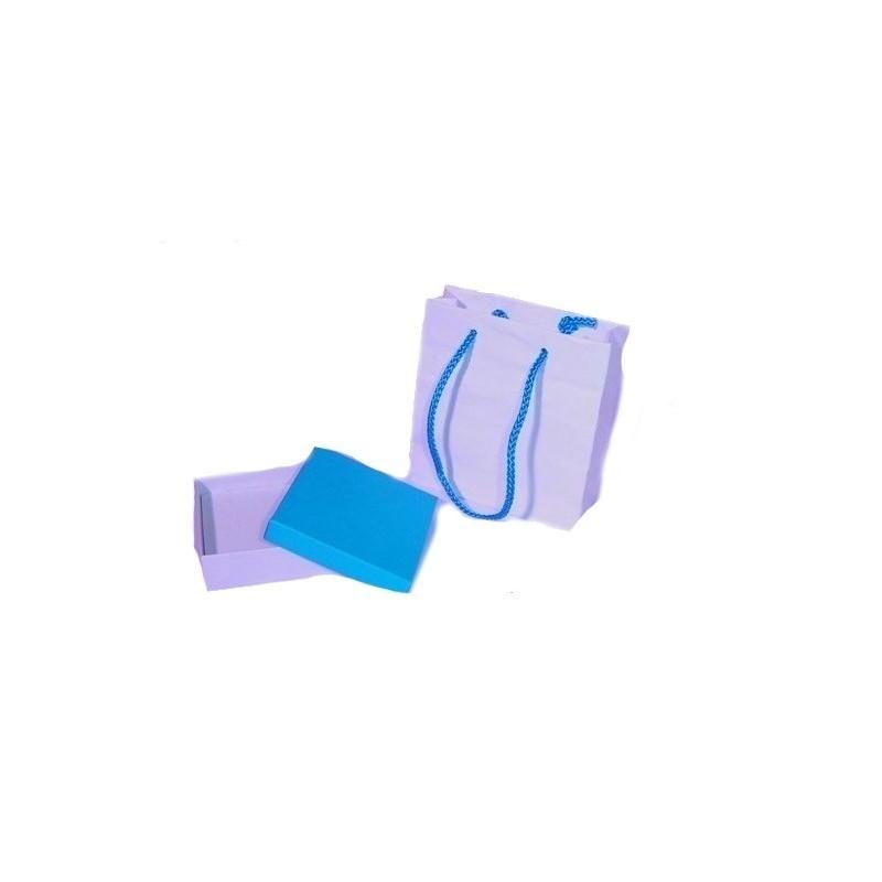 Stock di 30 astucci in cartoncino bianco-celeste int. spugna bianca + shopper
