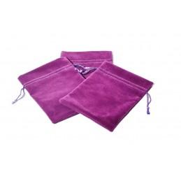 Stock di 10 sacchetti doppio floccato con cordino 10.5x15cm - ciclamino