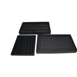 Stock of 3 bandajas para joyas. Interior exterior de cuero sintético negro