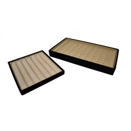 Stock of 2 jewelry trays. Interior in beige imitation leather, exterior in black imitation leather