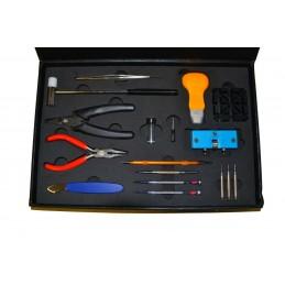 Scatola maxi con kit di attrezzi per riparare orologi