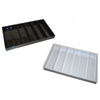 Trays in glossy white plastic 42x23 cm, h: 3 cm